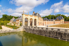 Decorative Channel and ancillary buildings in the estate of Vaux-le-Vicomte, France Stock Image