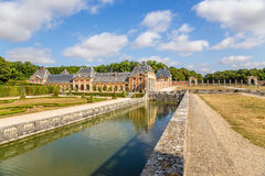 Decorative channel in the estate of Vaux-le-Vicomte, France. Vaux-le-Vicomte - classic French manor-palace of of the XVII century, situated 55 km south-east of Royalty Free Stock Image