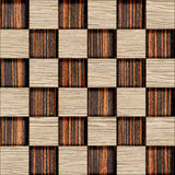 Decorative checkered pattern - seamless background - wood textur Stock Images