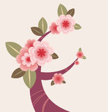 Decorative Cherry Blossom Branch. Cherry blossom branch - great for website header, banner, greeting cards Royalty Free Stock Photo