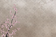 Decorative cherry tree and chinese pattern filigre Royalty Free Stock Photo