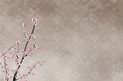 Decorative cherry tree and chinese pattern filigre Royalty Free Stock Photography