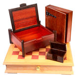 Decorative chessboard and caskets isolated Stock Images