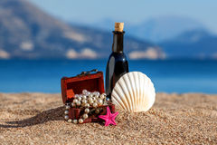 Decorative chest with jewelry,bottle and starfish Royalty Free Stock Photo