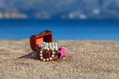 Decorative chest with jewelry and starfish Stock Photography