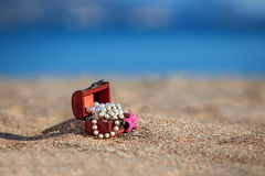 Decorative chest with jewelry and starfish Stock Image