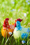 Decorative chicken in the garden Royalty Free Stock Images