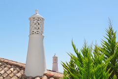 Decorative chimney on the roof of the Portuguese at home. Stock Image