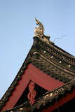 Decorative Chinese facade. Decorative facade and roof of a Chinese building Stock Photo