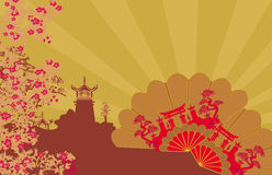 Decorative Chinese landscape and beautiful fans card Royalty Free Stock Images