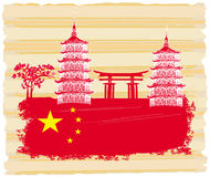 Decorative Chinese landscape card with buildings, flag and gate Royalty Free Stock Photos