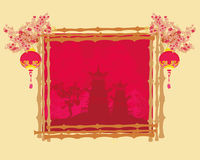 Decorative Chinese landscape card Royalty Free Stock Photography