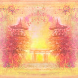 Decorative Chinese landscape card Royalty Free Stock Photo