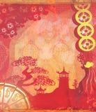 Decorative Chinese landscape card Stock Photos