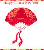 Decorative Chinese landscape - Happy Chinese New Year Card Royalty Free Stock Image