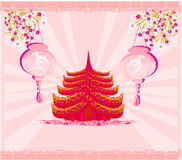 Decorative Chinese landscape card Royalty Free Stock Photos