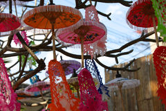 Decorative Chinese umbrellas in composition, Thailand Royalty Free Stock Image