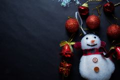 Free Decorative Christmas And Snowman Isolated On Black Background Royalty Free Stock Images - 164857109