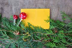 Decorative christmas background. Pine decorative wreath around yellow paper Royalty Free Stock Photography