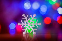 Decorative christmas background with star lights and snowflake Stock Images