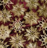 Decorative Christmas background with straw stars Stock Photo