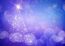 Decorative Christmas background with tree and snowflakes. Decorative christmas background with tree, bokeh lights and snowflakes royalty free illustration