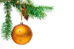 Decorative Christmas ball on the Christmas tree. Royalty Free Stock Photo