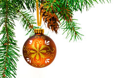 Decorative Christmas ball on the Christmas tree. Stock Images