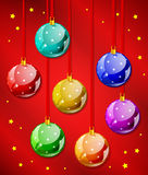 Decorative christmas balls. With ribbons in vecor Stock Image