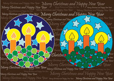 Decorative christmas balls with candles. Color christmas balls with lighting candles on brown background with words stock illustration