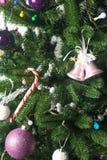 Decorative Christmas balls and Christmas tree Stock Image