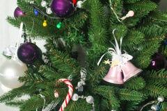 Decorative Christmas balls and Christmas tree Stock Images