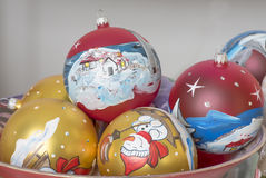 Decorative christmas balls. Hand painted with winter scene Stock Photo