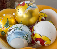 Decorative christmas balls hand painted. With winter scene Royalty Free Stock Photography