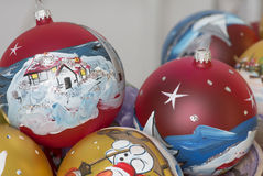 Decorative christmas balls hand painted. With winter scene stock photo