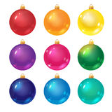 Decorative Christmas balls isolated on white. Colorful decorative balls for Christmas tree, vector objects Royalty Free Stock Photography