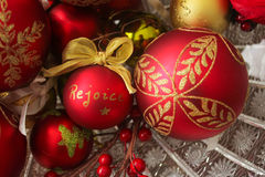 Decorative Christmas Balls, Rejoice Left. Decorative Christmas balls in a crystal bowl, focused on the positioned-left word `rejoice Royalty Free Stock Photo