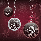 Decorative Christmas balls on snow background. Vector illustration Royalty Free Stock Photo