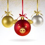 Decorative Christmas Balls with Stylized Pig Face stock illustration