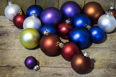 Decorative christmas balls on a table Royalty Free Stock Images