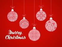Decorative Christmas balls. Xmas greeting card. Vector illustration Stock Photography
