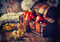 Decorative Christmas bell With Treasure Box Stock Photo