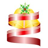 Decorative Christmas bells with red ribbon vector Royalty Free Stock Photo