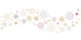Decorative christmas border wave with snowflakes and stars gold. Silver and red vector illustration EPS10 stock illustration
