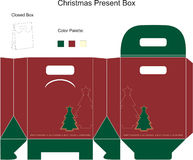 Decorative christmas box. With die cut tree stock illustration