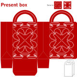 Decorative christmas box. Template gift box with ethnic design Royalty Free Stock Photos