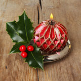 Decorative Christmas candle Royalty Free Stock Photo