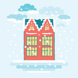 Decorative christmas card with winter house and New Year snowy landscape Royalty Free Stock Photography