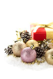 Decorative christmas composition isolated on white Royalty Free Stock Photo