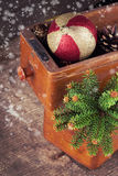 Decorative christmas composition on wooden background. Stock Photography